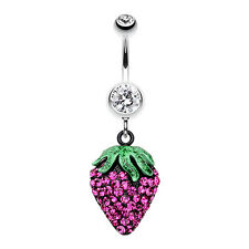Glitter Sparkle Strawberry Belly Navel Button Ring Clear/Fuchsia 14G