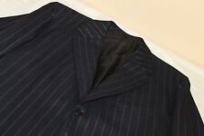 BESPOKE Navy London Canvassed Pinstriped Surgeons Cuffs Suit 40 R 100% Wool