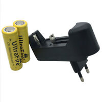 2X 18650 9800mAh Battery 3.7V Li-ion Flat Top Rechargeable+4.2V Charger EU Plug