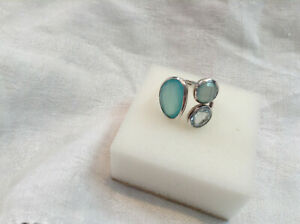 SIGNED AHM 925 STERLING SILVER SMOOTH BAND FACETED BLUE CHALCEDONY SIZE 6 RING