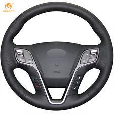 MEWANT Black Leather Steering Wheel Cover for Hyundai Santa Fe 2013-2016 ix45