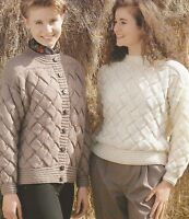 "Ladies Entrelac Jacket and Sweater Knitting Pattern in DK 30-40""       803"