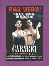 CABARET with ADAM PASCAL and SUSAN EGAN as Sally Bowles closing the revival 2003