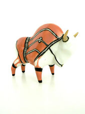 Bison Buffalo Orange Ceramic Art Sculpture Artist Mariusz Dydo Poland New