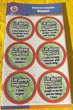 NEW 30 FRANK SCHAFFER CHARACTER MORAL EDUCATION RESPECT AWARD BADGES STICKERS!