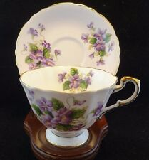 PARAGON TEA CUP AND SAUCER PURPLE VIOLETS PATTERN WIDE MOUTH TEACUP