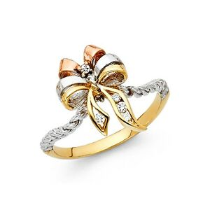 CZ Bowtie Ring Solid 14k Yellow White Rose Gold Twisted Band Ribbon Style Fancy