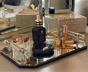 Mirrored Glass Jewellery Accessory Vanity Decorative Tray with Handles