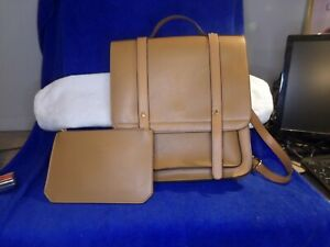 Ecosusi Camel Backpack Satchel Briefcase Faux Leather Handle  small inside purse