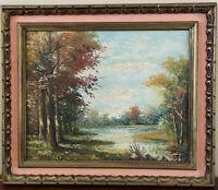 "Mid Century Landscape Original Oil Painting Dutch Artist Den Braber ""Woodland"""