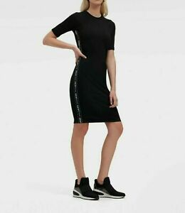 DKNY Contrast letter tape Dress Elastic Black  M L Mid short sleeves Authentic