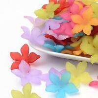 20 FROSTED LUCITE ACRYLIC PETAL FLOWER BEADS MIXED COLOURS 29mm LUC3