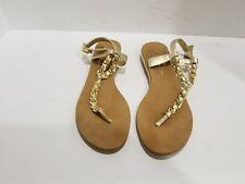 Jessica Simpson Women's Gold Leather Slingback Flip Flops Size 8 M