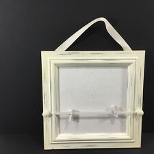 White Framed Bulletin Board Square Photo Frame Adjustable Clips Hanger