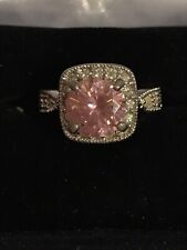 Ring Size 6 Sterling Silver 925 Premier Design Pink Solitaire And Cubic Zirconia