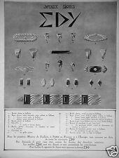 PUBLICITÉ 1927 JOYAUX SIGNÉS EDY - ADVERTISING