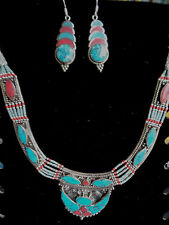 Turquoise Coral Necklace Bracelet Earrings Inlaid Stones