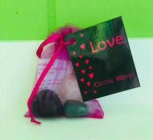 Crystal Wish Bag LOVE - Aventurine Green, Fluorite & Rose Quartz | Free Postage