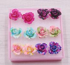 6pair Stylish Korean Women Flower Floral Ear Stud Party Earrings lady Gifts