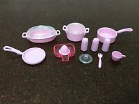 Barbie Dollhouse Scale Dishes Lot Matching Pink Pots & Pans Soda Cans #6