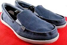 Crocs Walu II Womens 8M Triple Comfort Blue Canvas Loafers GC Same Day Shipping!