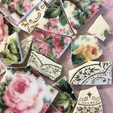 Broken China Plate Mosaic Tiles~Pink, Yellow Roses~Gold Lace~Shabby Chic Cottage