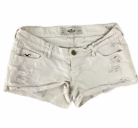 Hollister Low Rise Destroyed Ripped Cuffed Denim White Jean shorts size 1 25