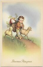 Easter cute boy with sheeps and eggs by degami 1920s H0027