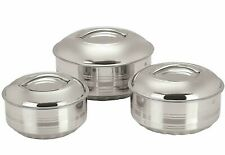 New Stainless Steel Serving Bowl with Lid, Set of 3, Silver