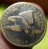 1858 Small Letters Flying Eagle Cent Coin Fine F Almost Very Fine VF Details