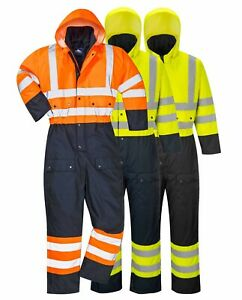PORTWEST Hi Vis Contrast Coverall Winter Lined Waterproof Hood Safety S485