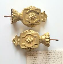 """Pair of antique French bronze finial decoration Salvaged hardware 6.2"""""""