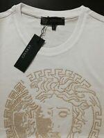 Medusa Embellished Logo Men White T-Shirt