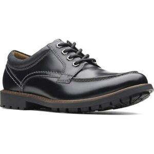 Clarks Curington Walk Men Moc Toe Oxfords Size US 11M Black Leather