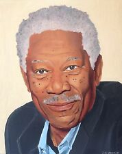 Celebrity actor portrait painting Morgan Freeman original oil painting 16x20 art