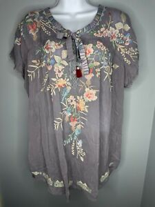 Johnny Was Dreaming Blouse Womens Size Large Gray Floral Embroidered Chiffon Top