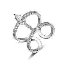 Women Charm Fashion 925 Sterling Silver Marquise Zircon Ring Size L1/2 FREE P&P