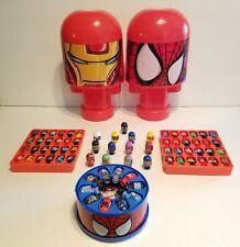Bonka Zonks Spider-Man & Iron Man Cases+ Lot of 71 Marvel Super Heroes Villains