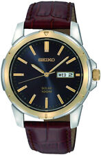 SEIKO SNE102P9 Solar Gents Watch Brown Leather Strap WR 100M 2 Yr Guar RRP £169