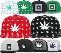MARIJUANA Snapback Baseball Cap Weed Leaf Hat Cannabis 420 Fashion Premium