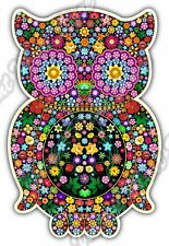 "Owl Illuminati Freemasonry Floral Colorful Car Bumper Vinyl Sticker Decal 4""X5"""