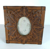 "Cast Iron Picture Frame 3x3"" Photo Easel Ornate Rusty Primitive Farm Floral Oval"