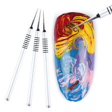 Nail Art Drawing Painting Pen Water Marble Silver Handle Manicure Tool DIY L7S