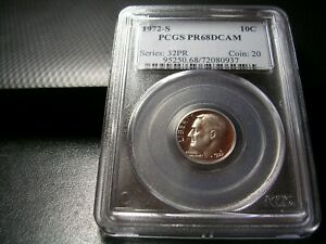 1972-S ROOSEVELT DIME  PCGS PR 68 DCAM