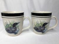 Folk Craft Stoneware Loon Lake Scotty Z Tea Coffee Cup Mug 17 oz Set of 2