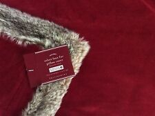 Pottery Barn FAUX FUR Cherry RED Velvet PILLOW COVER ~ Christmas ~ New w/Tags