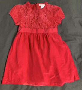 janie and jack lace and silk red dress 4T