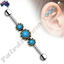 316L SSteel Industrial Barbell with Burnish Gold Triple Round Turquoise Centre