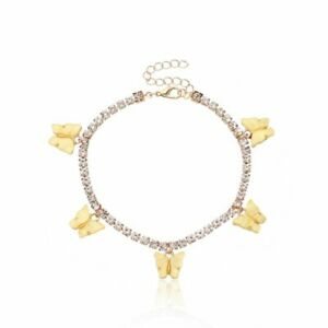 Rhinestone Acrylic Butterfly Anklet Foot Chain Summer Beach Anklet Women Jewelry