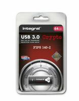 Integral 64GB Crypto Secure Password Encrypted FIPS 140-2 USB 3.0 Flash Drive.
